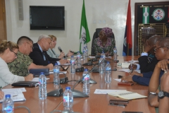 Catherine Gibbons of the US Mission in Nigeria addressing the Perm Sec, Min. of Defence while others listen