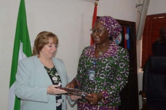 The Perm Sec MOD presenting a gift to the Head of US delegation Catherine Gibbons