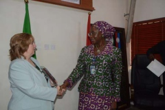 The Perm Sec MOD exchanging pleasantries with the Head of US Delegation Catherine Gibbons